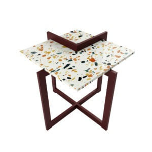 stalowy stolik kawowy z blatem z białego lastriko (terazzo)