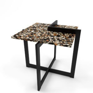 stalowy stolik kawowy z blatem z czarnego lastriko (terazzo)