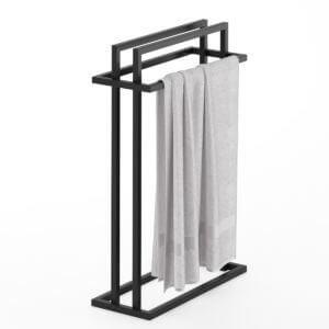 produkt od zabawa w dom - stalowy wieszak na cztery ręczniki pomalowany na czarny kolor