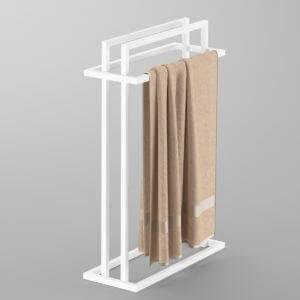 produkt od zabawa w dom - stalowy wieszak na cztery ręczniki pomalowany na biały kolor