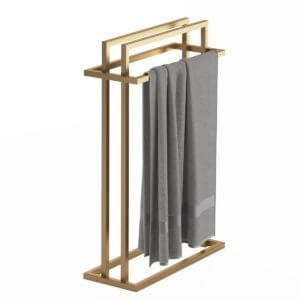 produkt od zabawa w dom - stalowy wieszak na cztery ręczniki pomalowany na złoty kolor