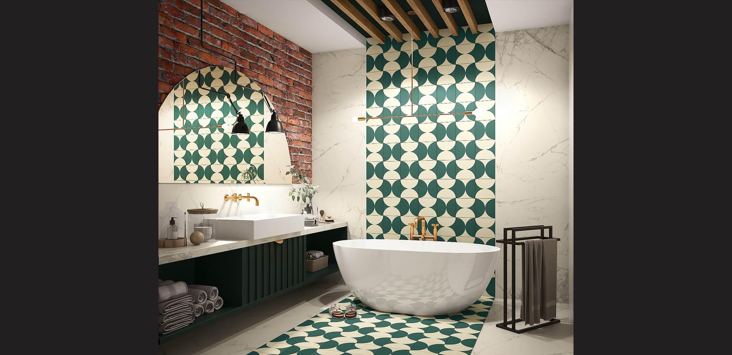 wizualizacja łazienki przedstawiająca produkty firmy zabawa w dom w użyciu, w szczególności wieszak metalowy na cztery ręczniki