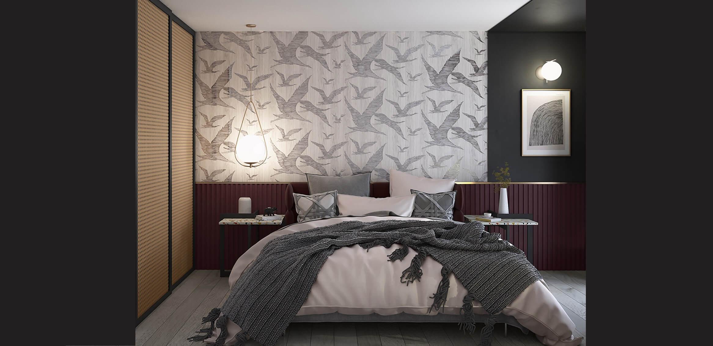wizualizacja sypialni przedstawiająca produkty firmy zabawa w dom w użyciu, w szczególności stolik lastriko