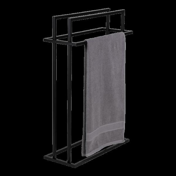produkt od zabawa w dom - stalowy wieszak na cztery ręczniki pomalowany na czarny kolor z przewieszonym ręcznikiem