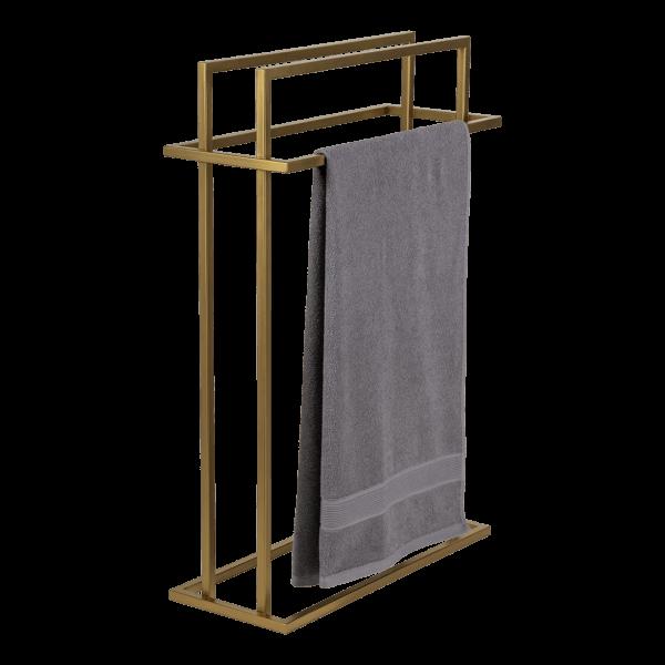 produkt od zabawa w dom - stalowy wieszak na cztery ręczniki pomalowany na złoty kolor z przewieszonym ręcznikiem